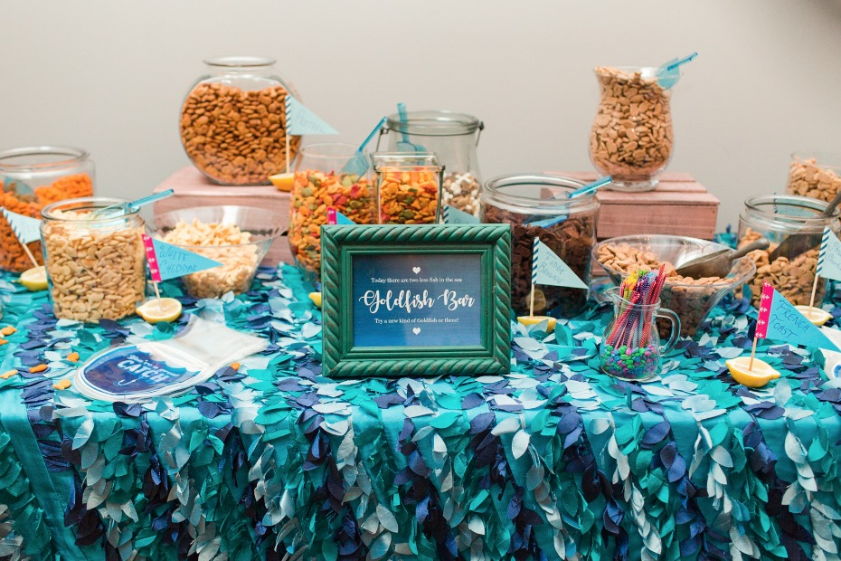 an assortment of goldfish crackers for guests