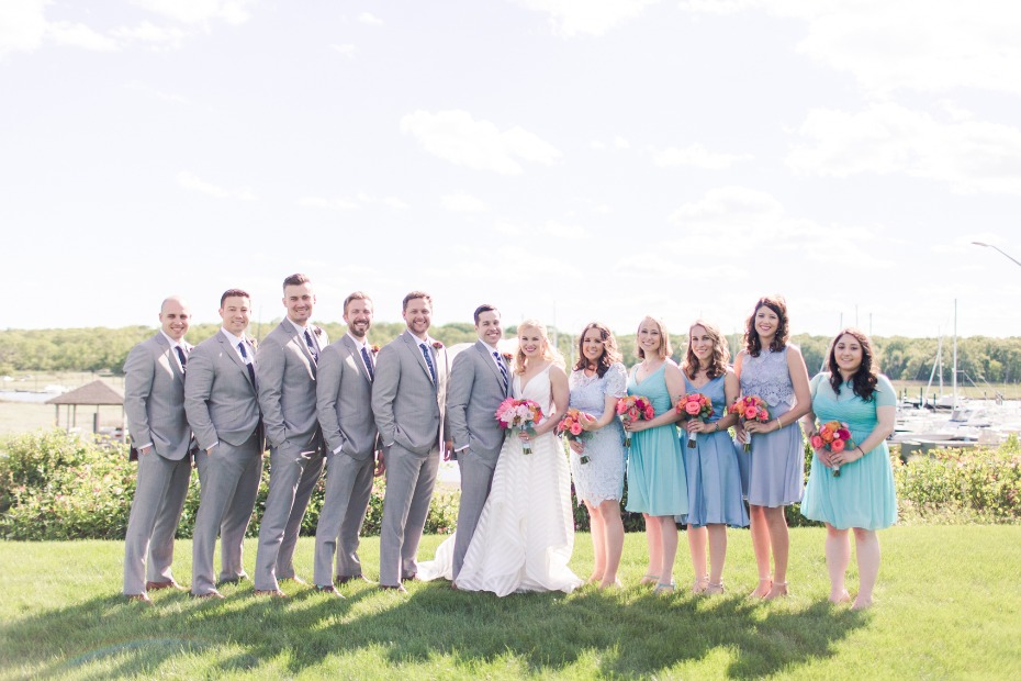 grey and shades of teal wedding party