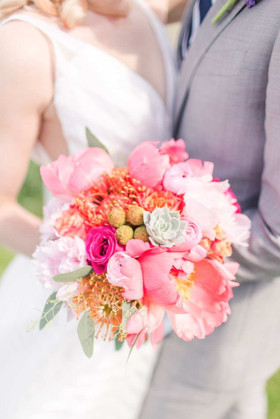 bright and happy pink wedding bouquet