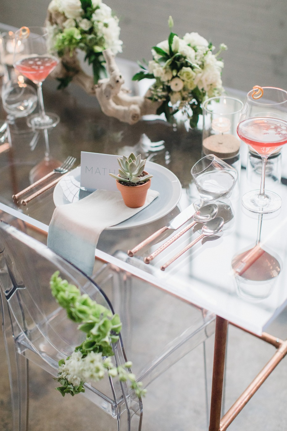 modern chic sweetheart table for two