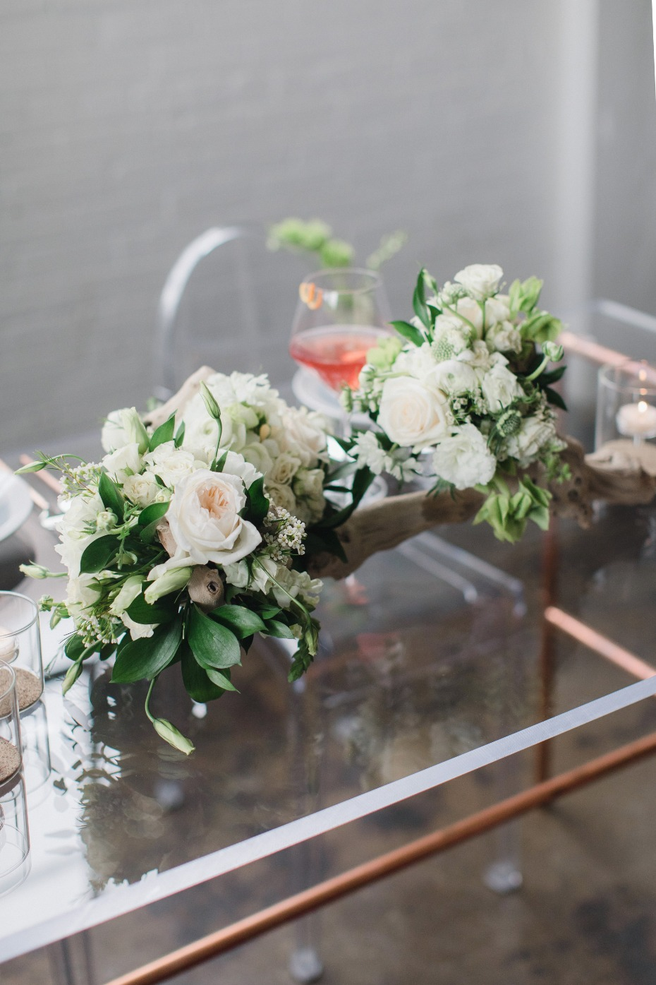 Driftwood centerpiece with flowers