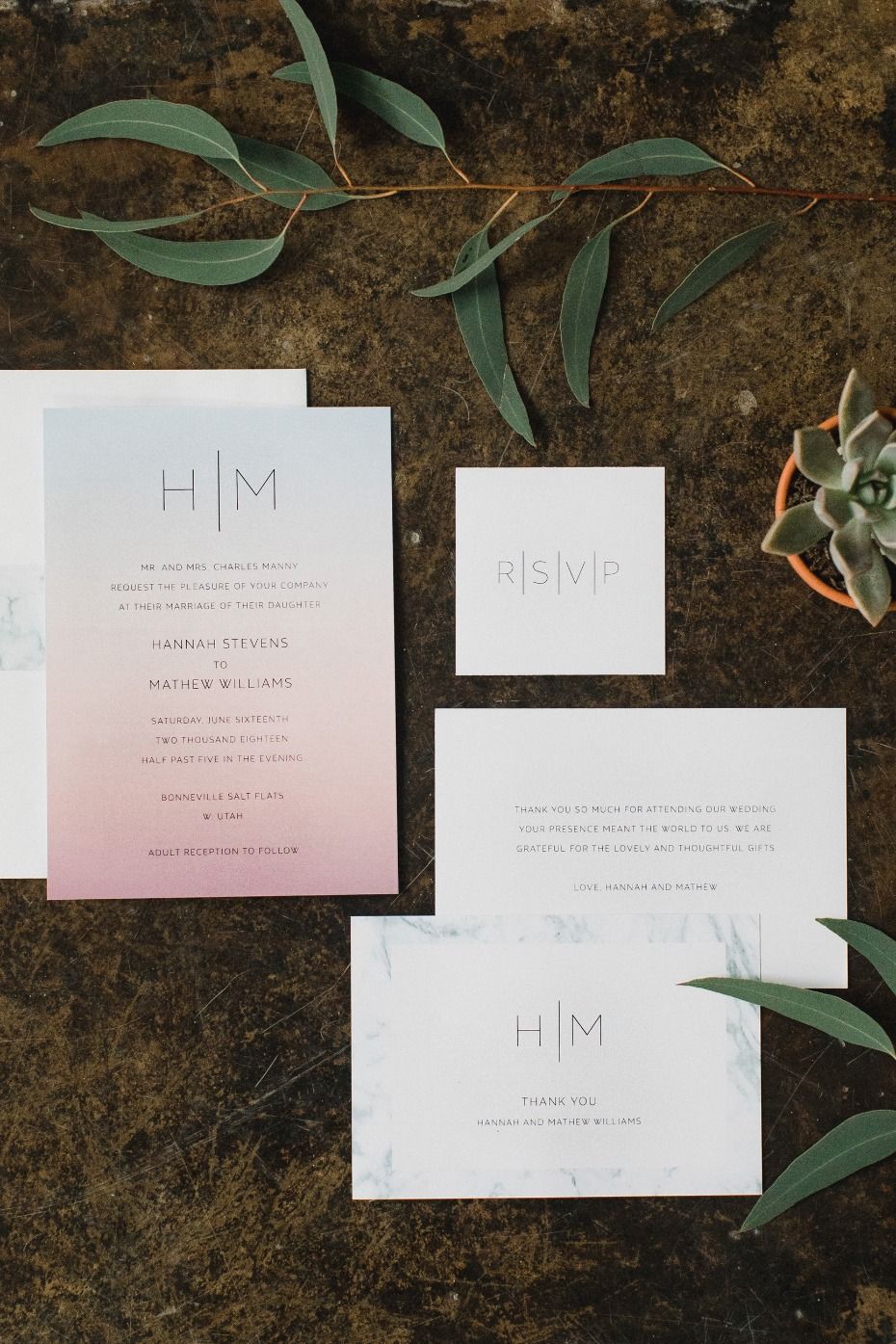 Chic + modern invitation suite