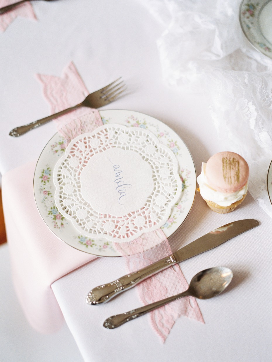delicate tea party table decor