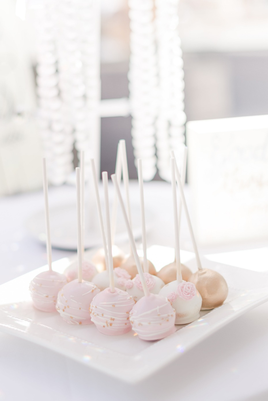 Fancy cake pops for a bridal shower