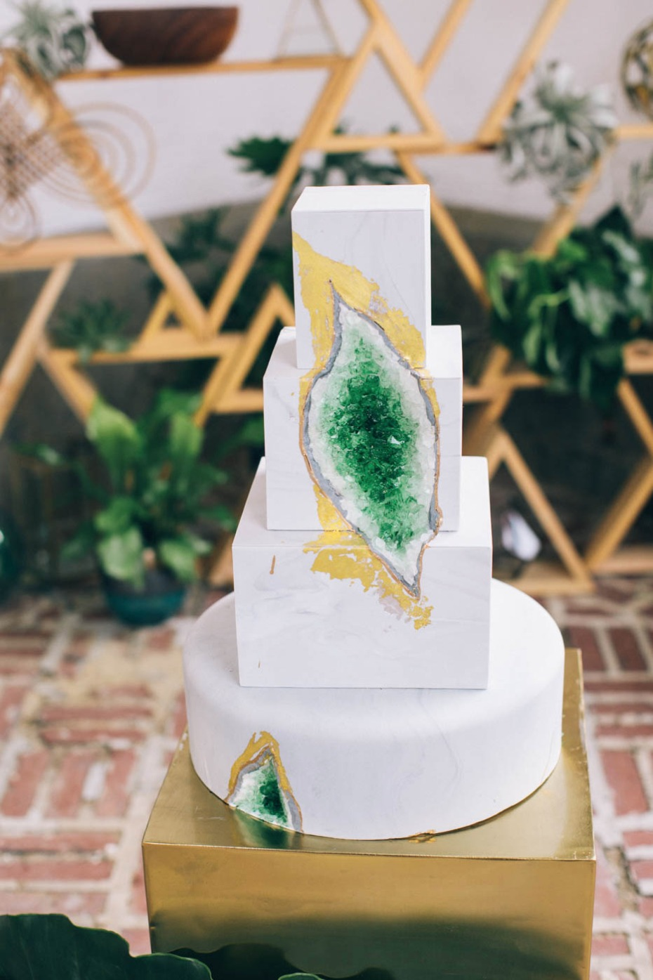gold and green geode wedding cake