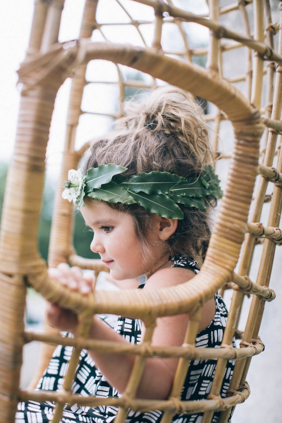 green leaf wedding halo for your flower girl