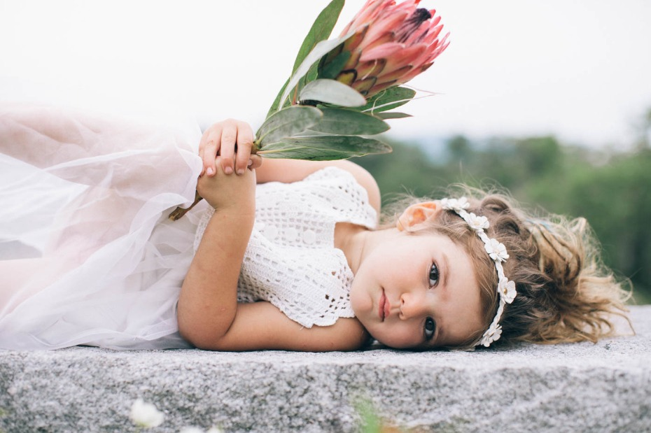 flower girl with protea