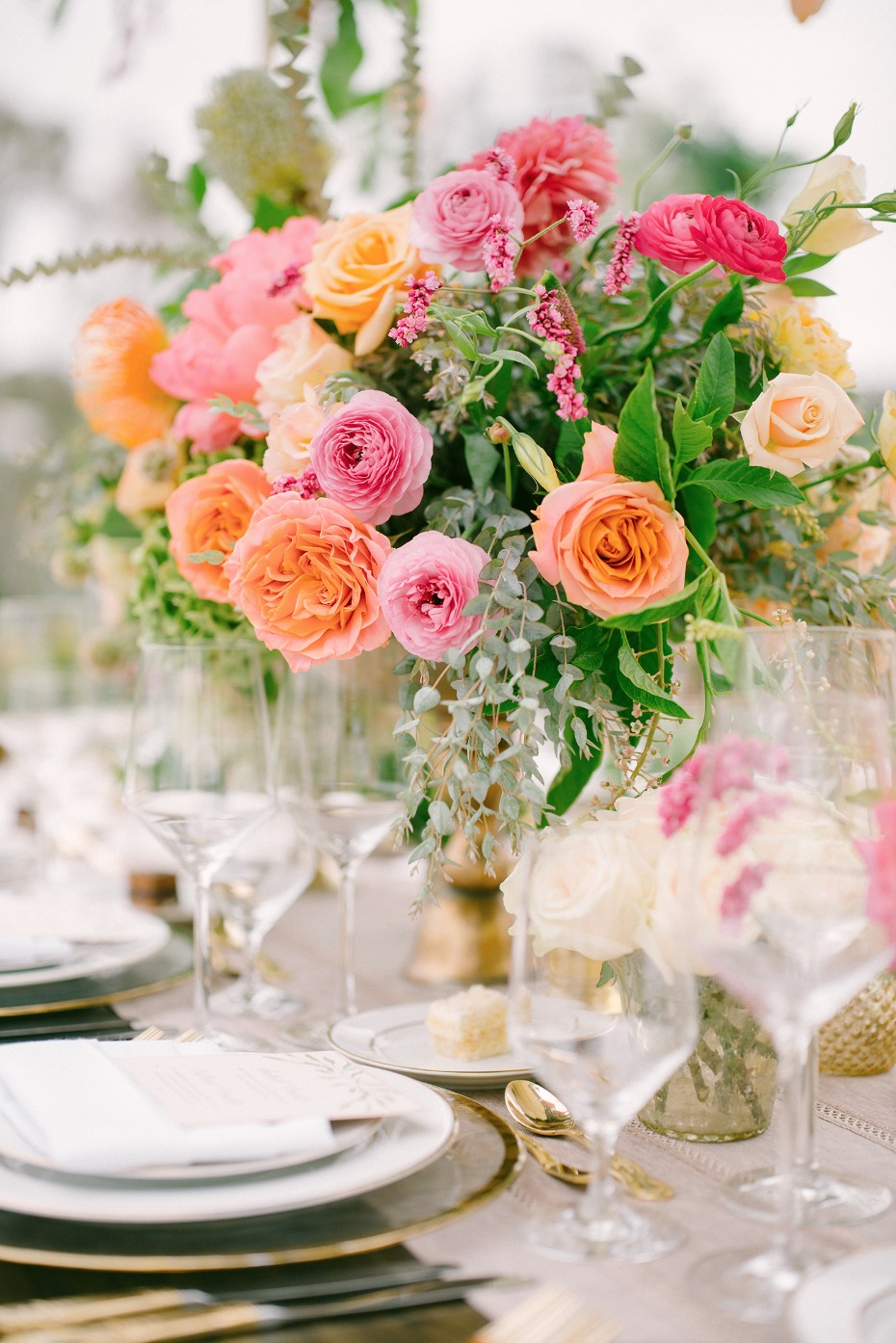 pink yellow and orange centerpiece