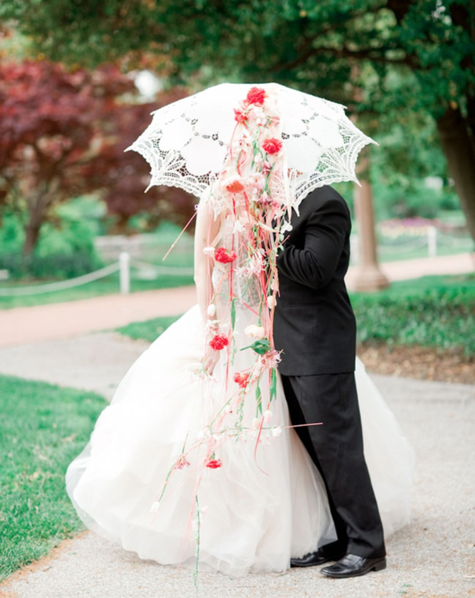 7 Ways To Use Flower Parasols On Your Wedding Day + DIY