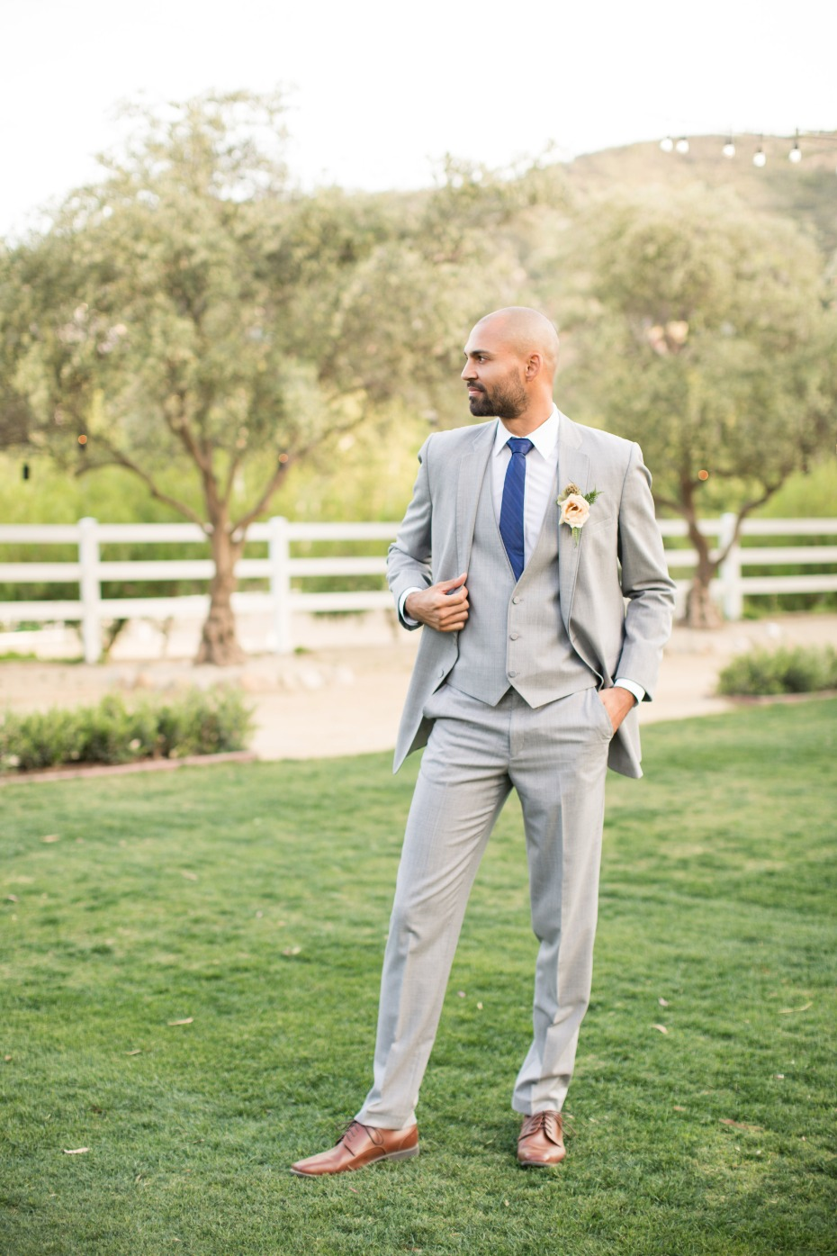 Friar Tux wedding suit in light grey