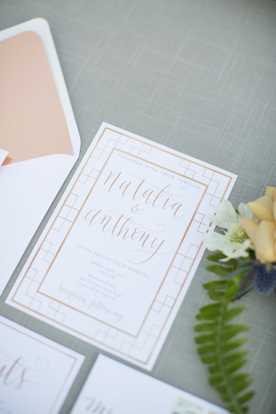 copper and silver wedding invitation