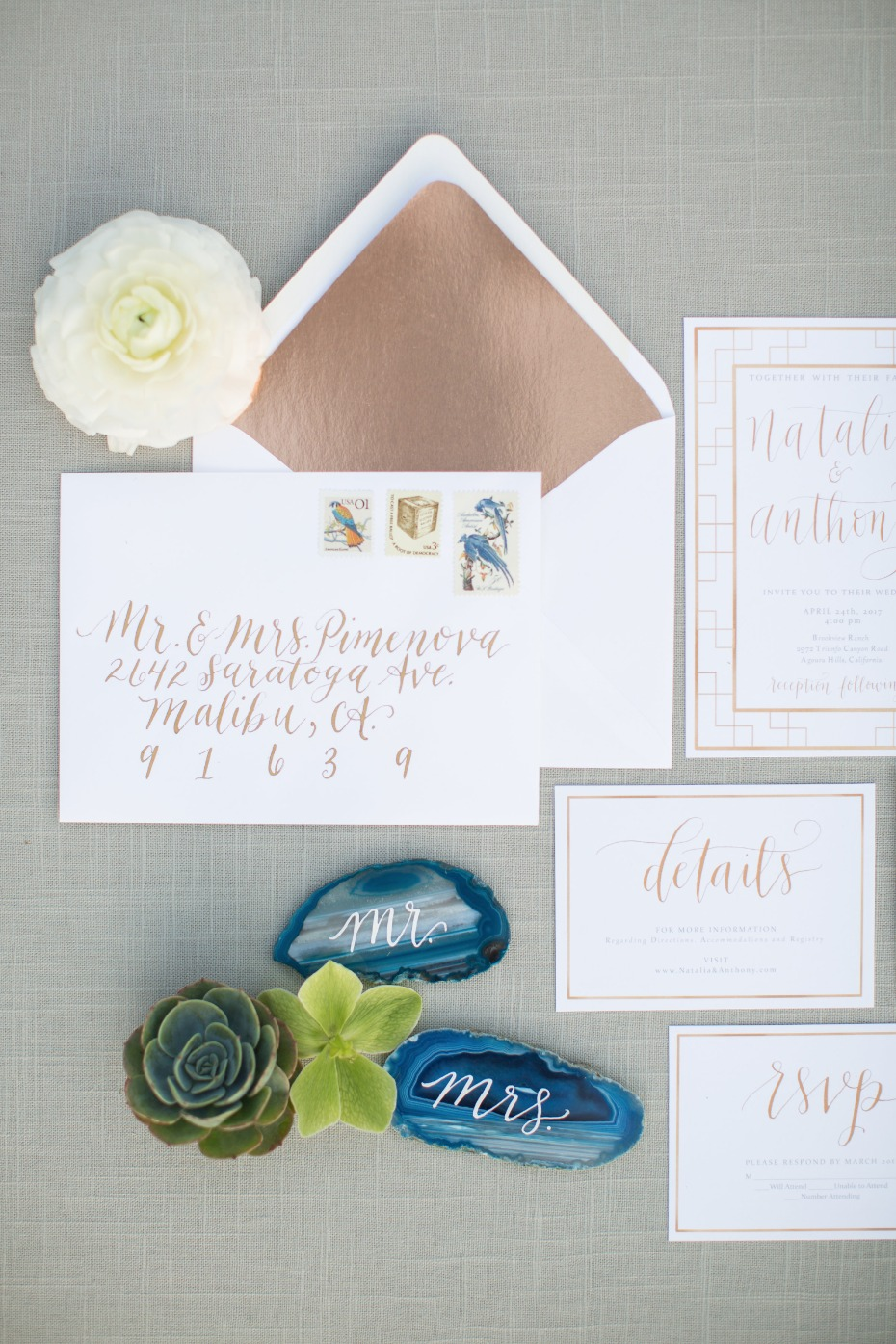copper and calligraphy wedding invitations
