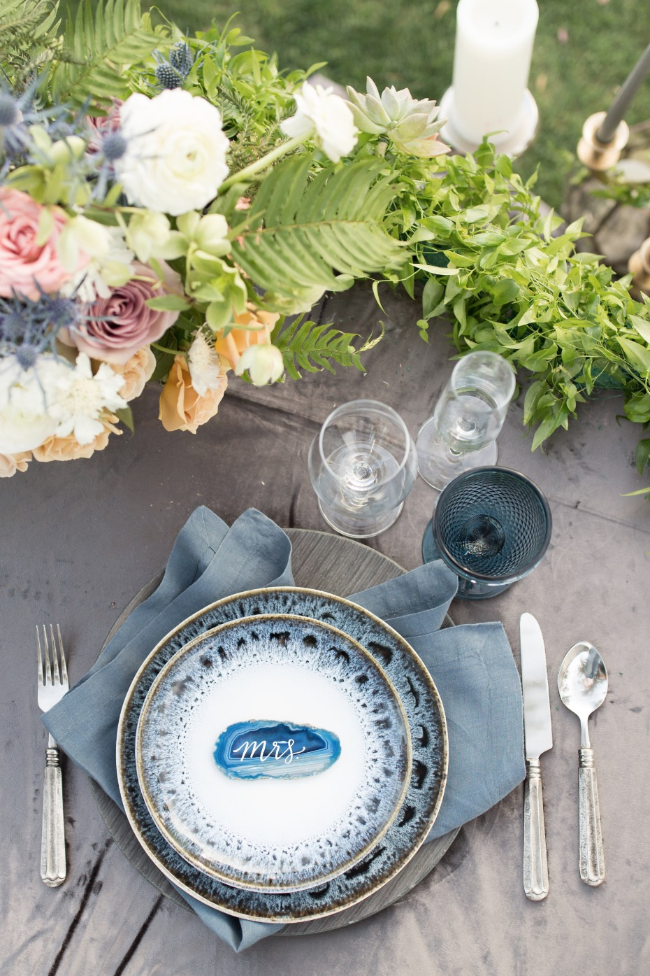 blue grey and silver wedding sweetheart table decor
