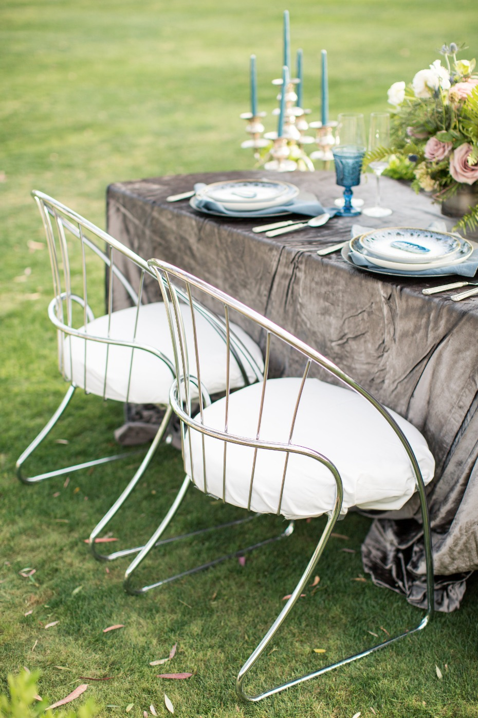 modern silver bride and groom chairs