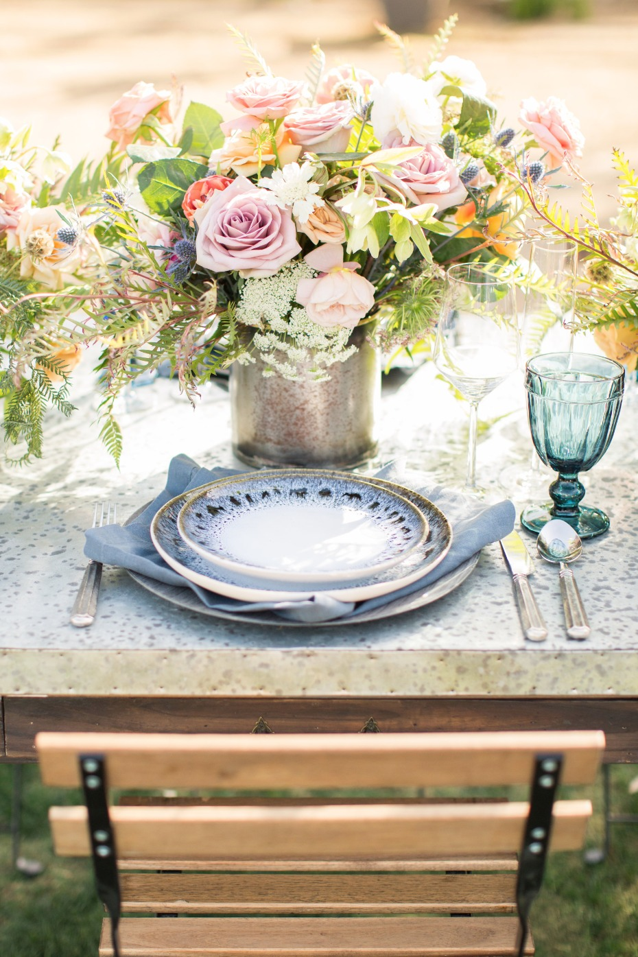 blue and grey ceramic place setting