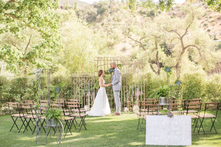 outdoor industrial style wedding decor