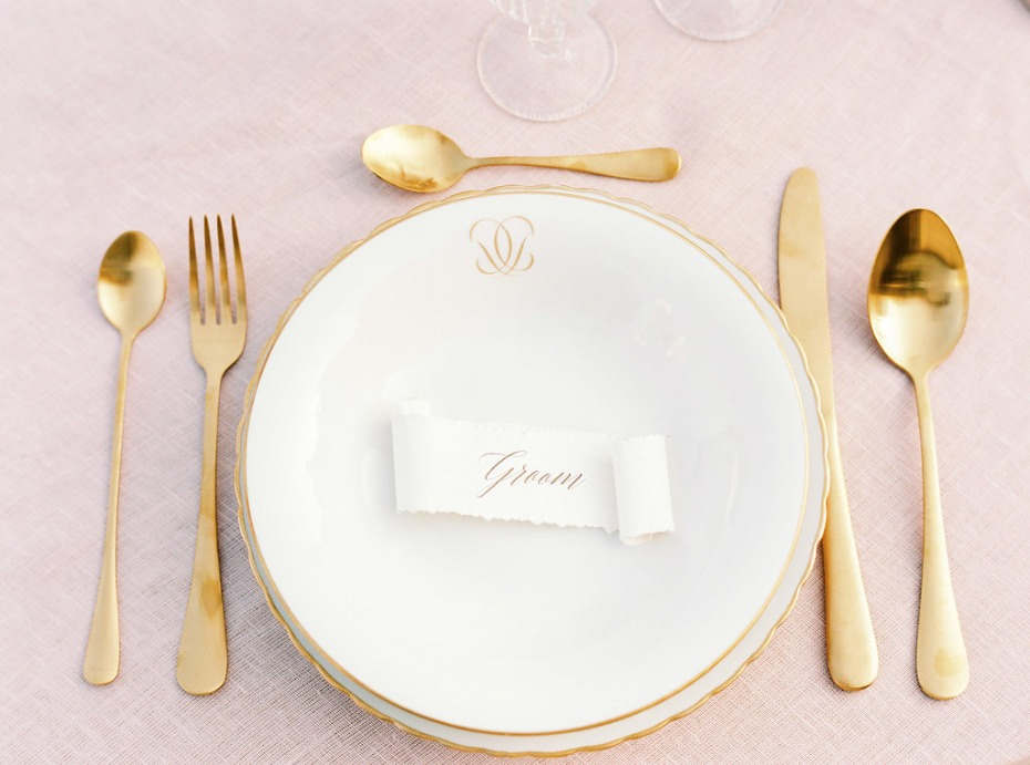 Blush and gold place setting for the groom