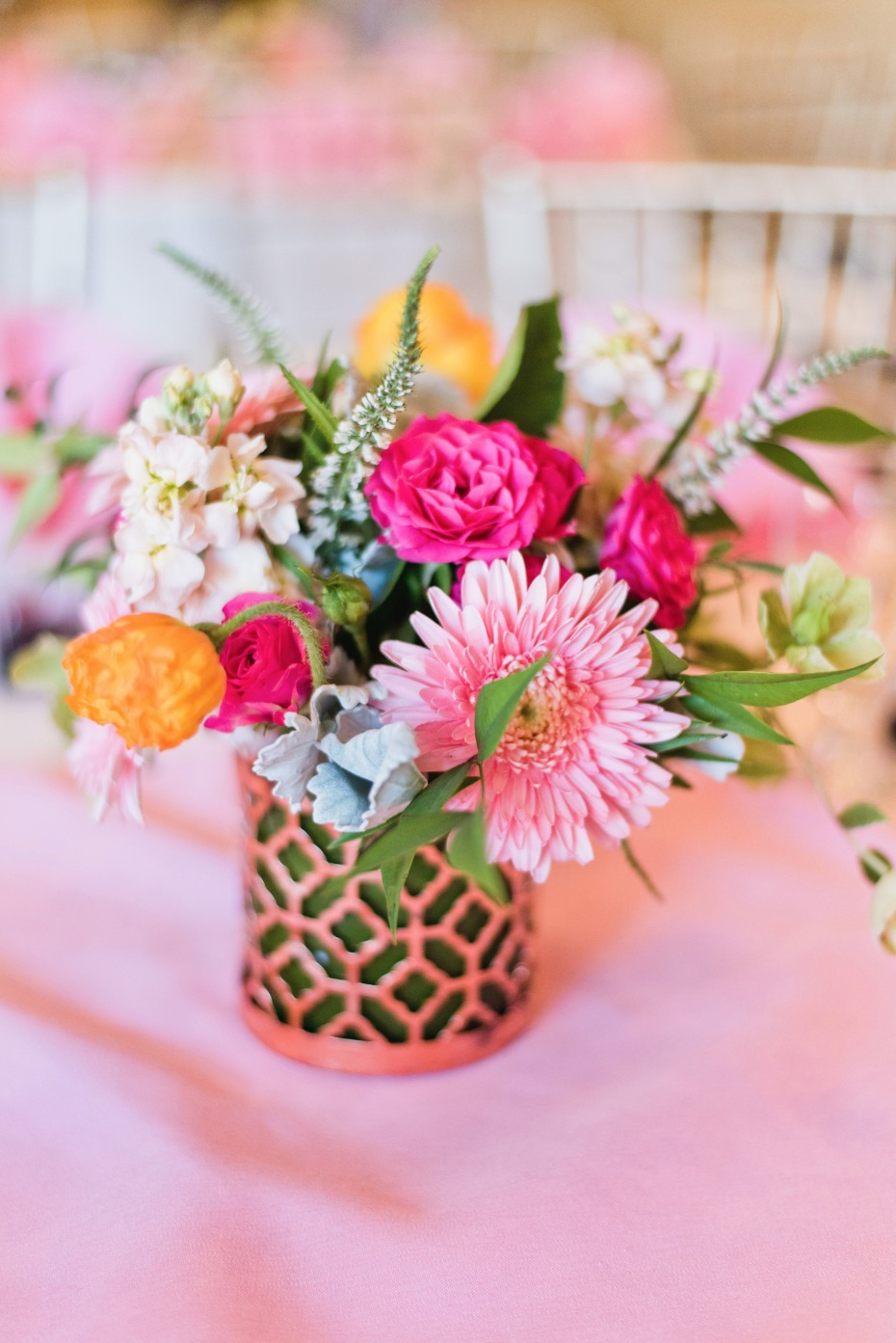 bright and fun floral centerpiece