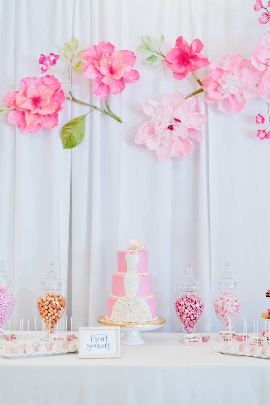 all pink all the time cake table