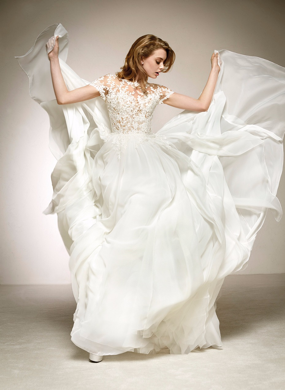 Image result for Pronovias bridal gown short sleeve