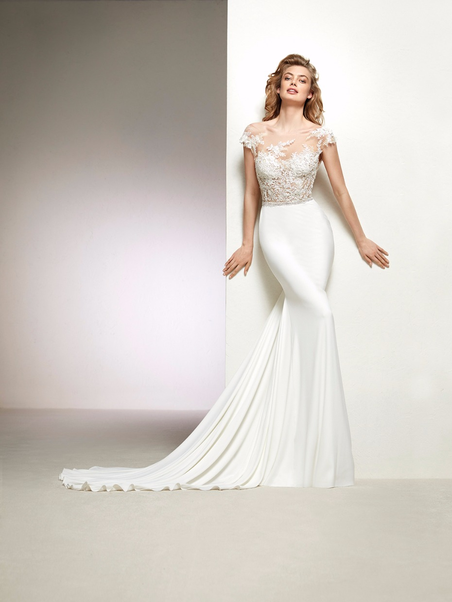 see through wedding dress with sleeves