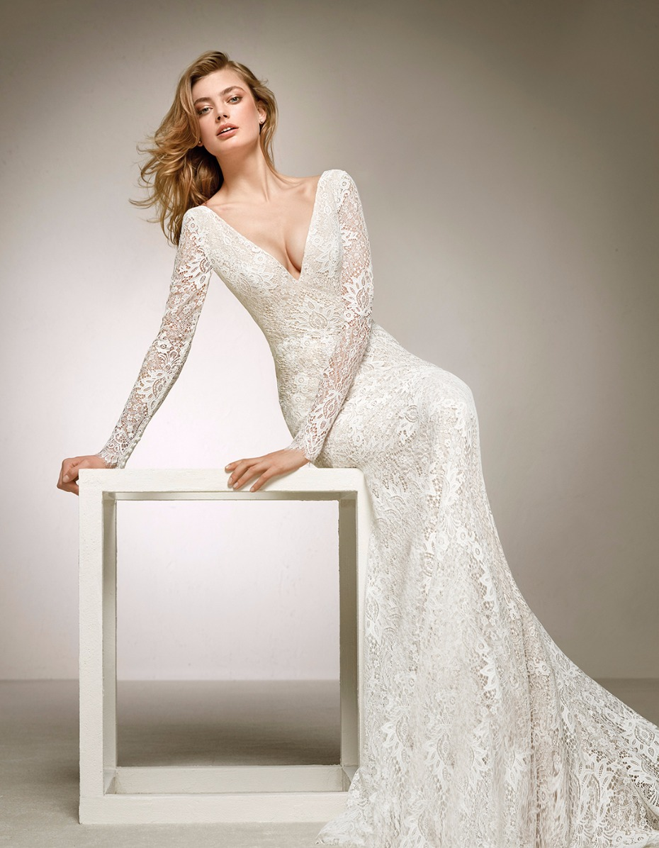 V cut lace long sleeve wedding dress from pronovias