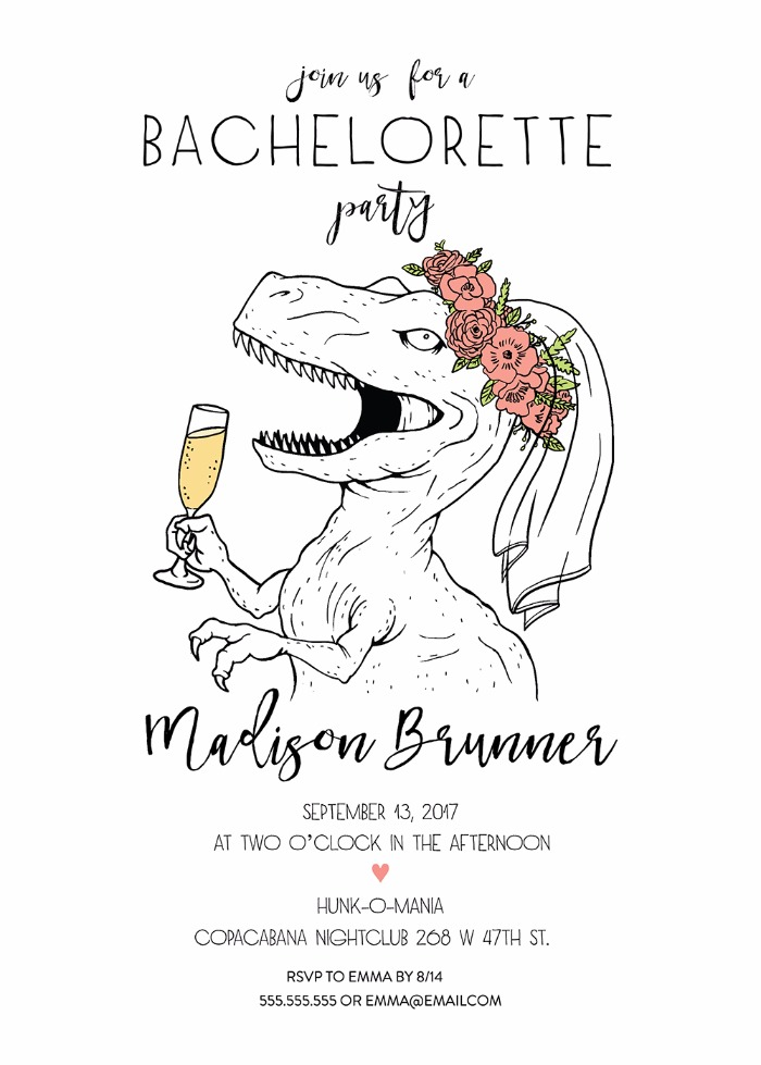 image relating to Free Printable Bachelorette Party Invitations titled Print - Free of charge Printable Dinosaur Bachelorette Bash Invite