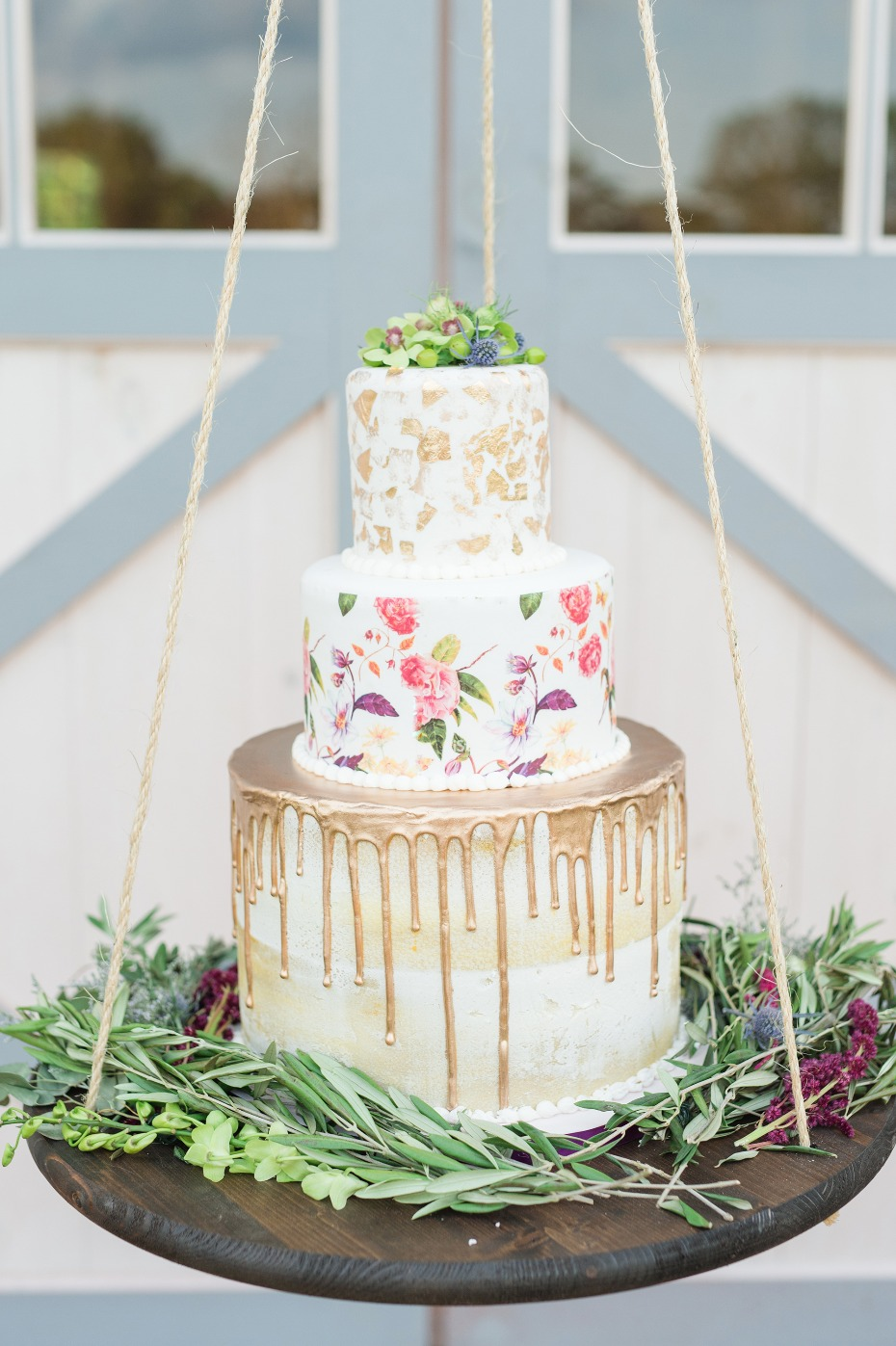 Gorgeous cake on a hanging cake stand