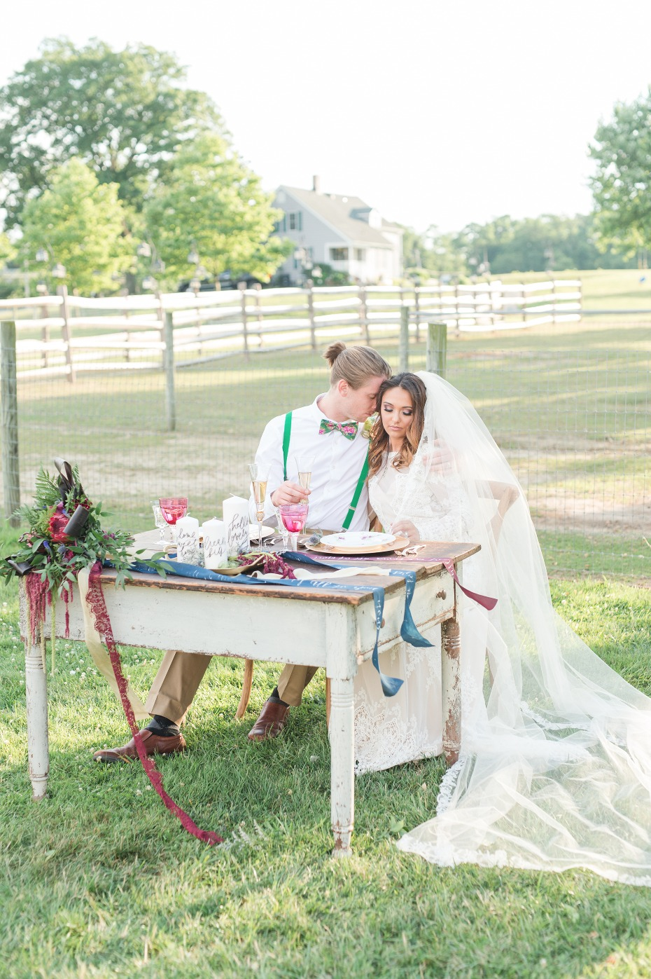 Rustic sweetheart table for two