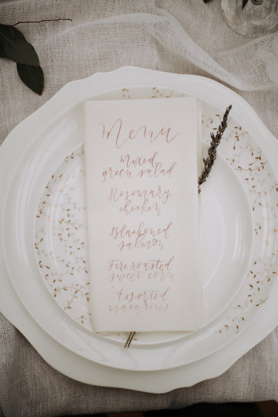 Calligraphy menu idea