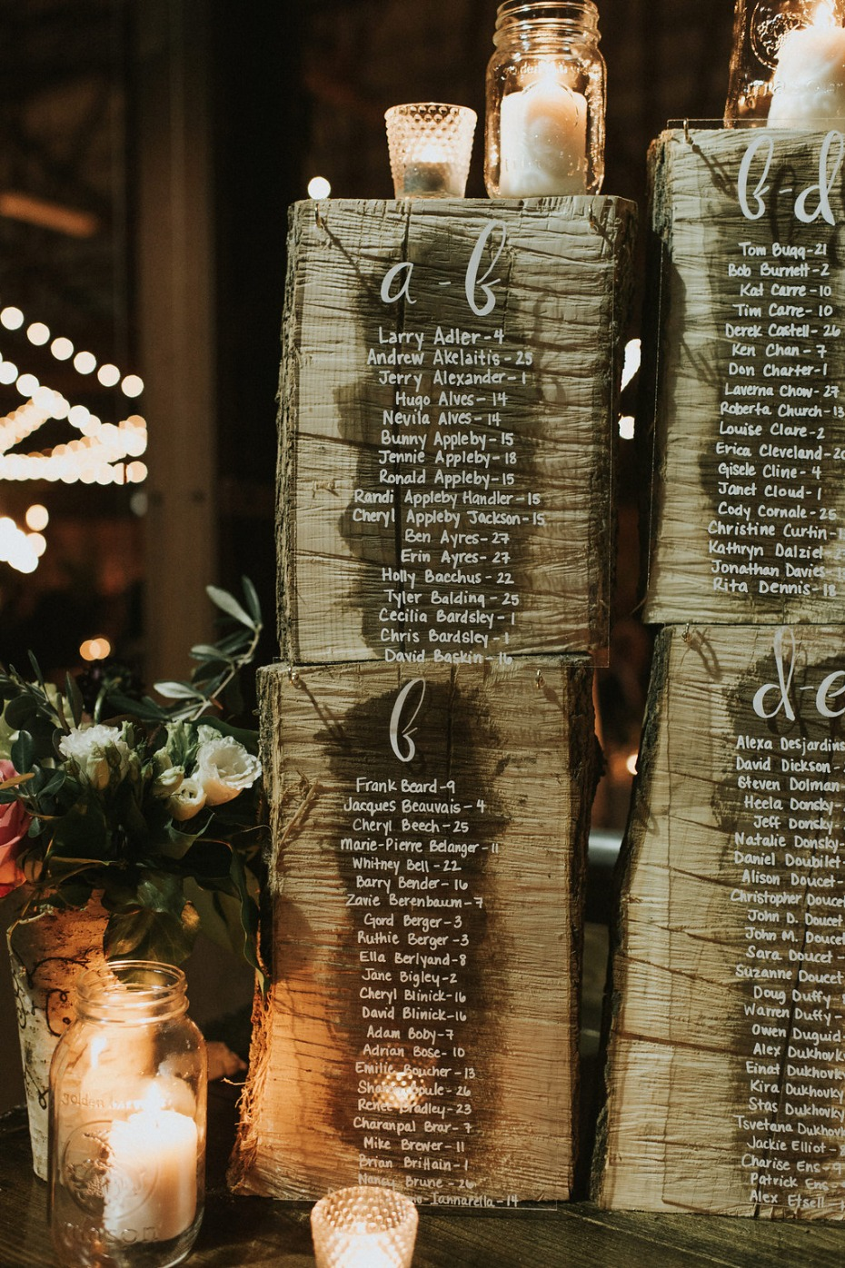 rustic stump wedding seating assignments