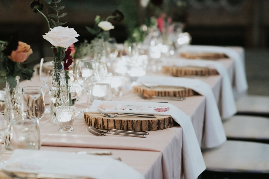 blush rustic chic wedding table