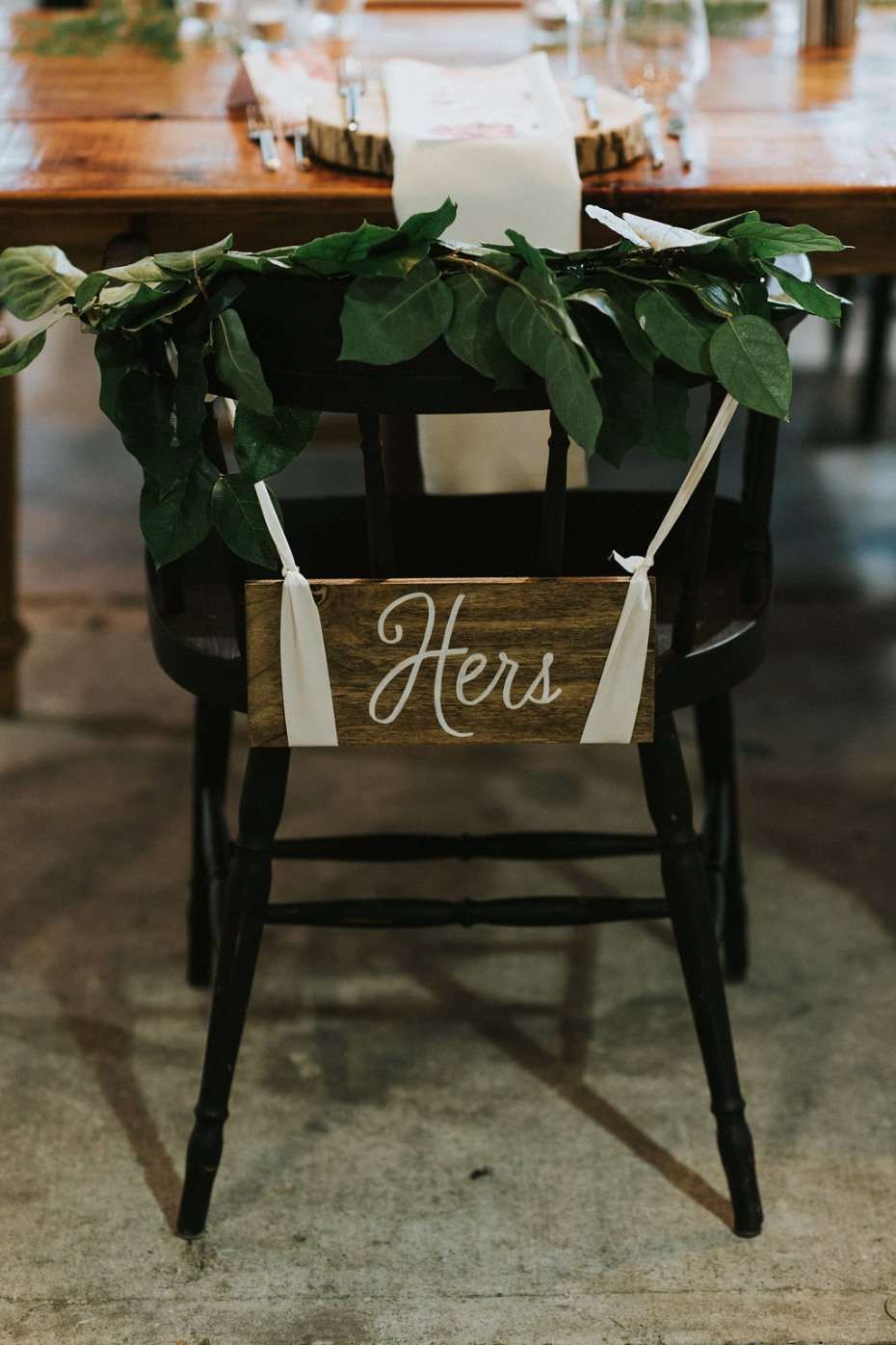 hers wedding seat sign