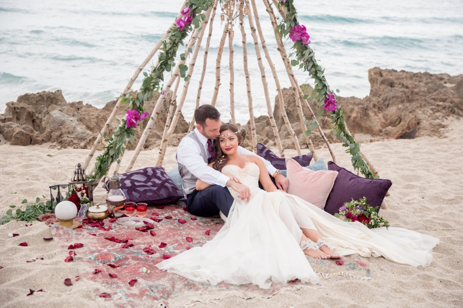 bride and groom beach boho lounge