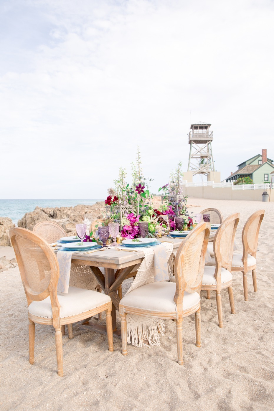 white sandy beach wedding reception