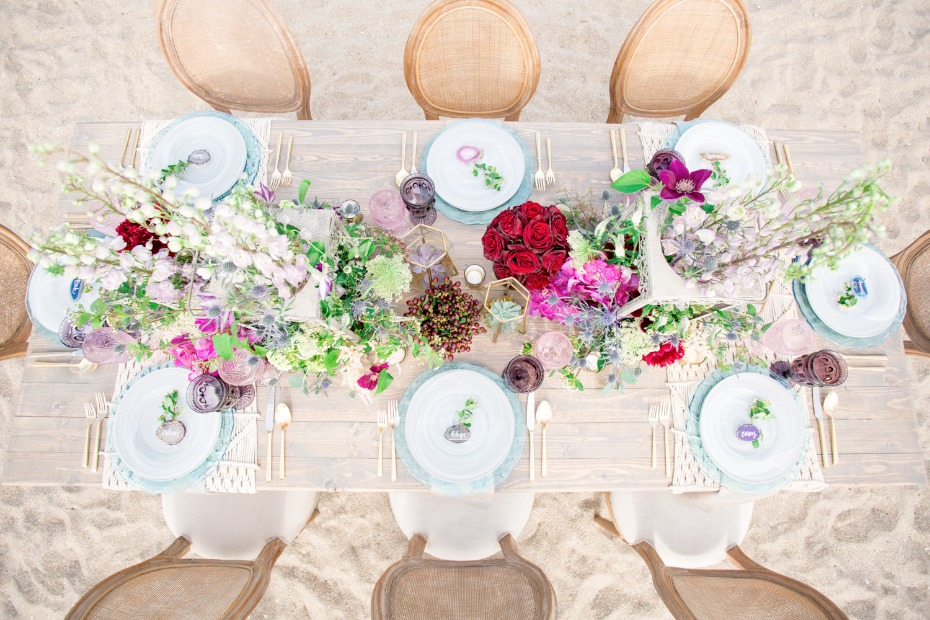 gold table setting with boho beachy details