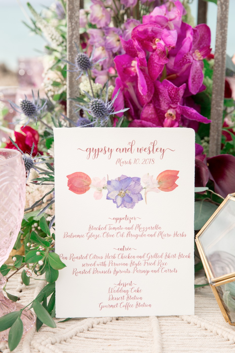 pressed flower wedding invitations