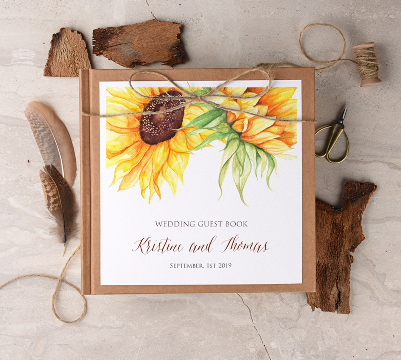 wedding #guestbook with sunflowers