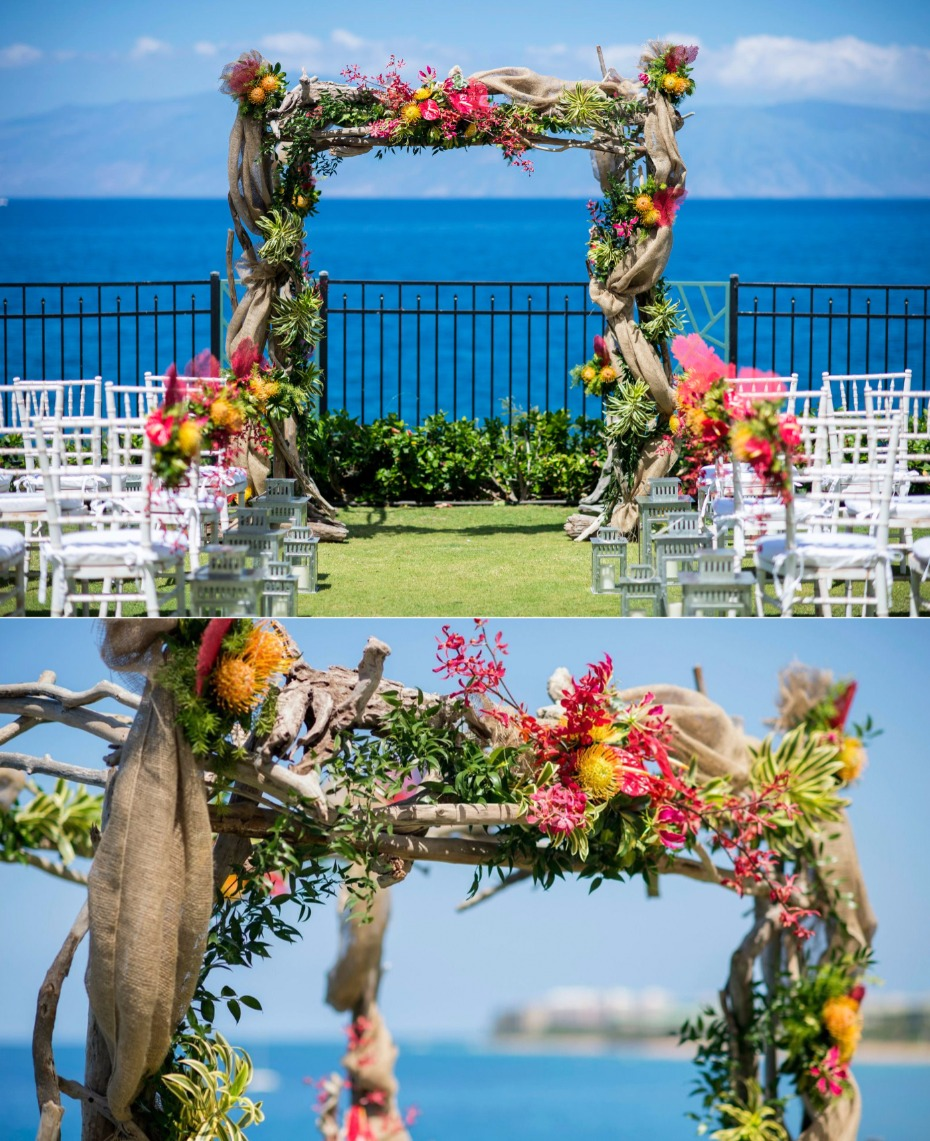 outdoor wedding venue with colorful flowers