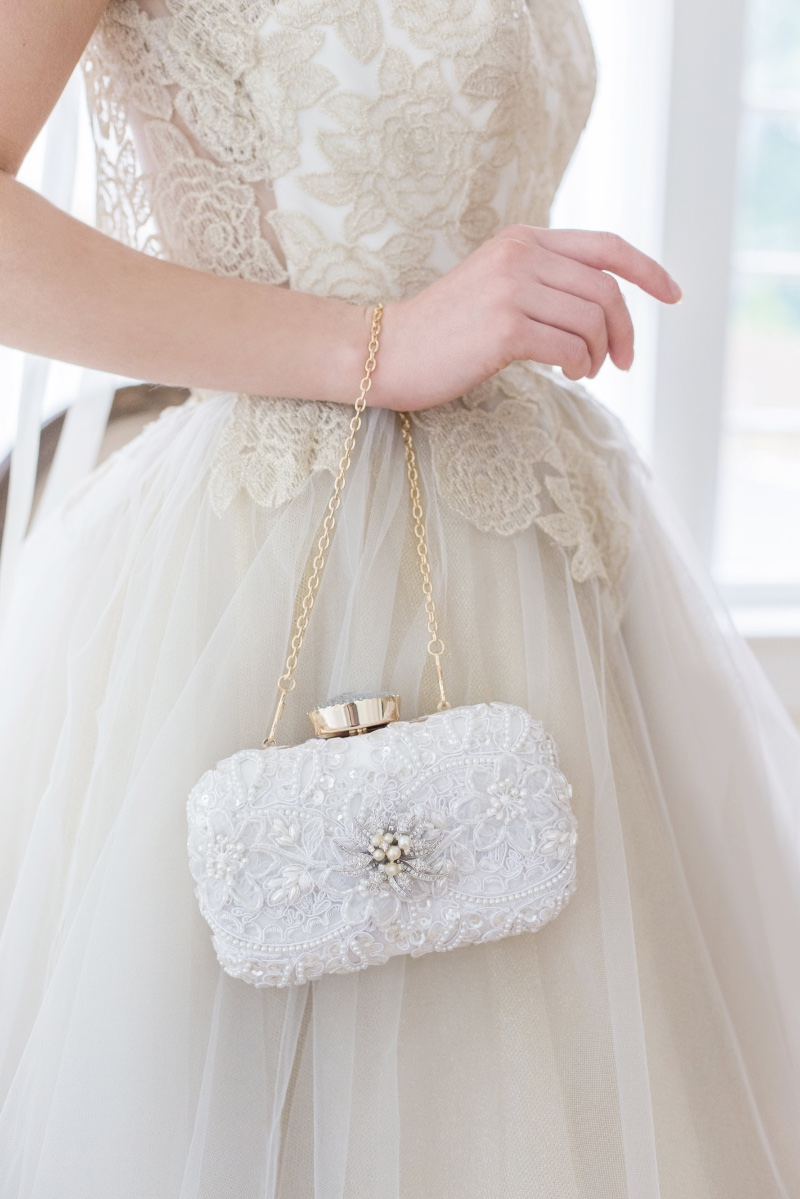 Simple yet elegant bridal clutches with a touch of sparkle.