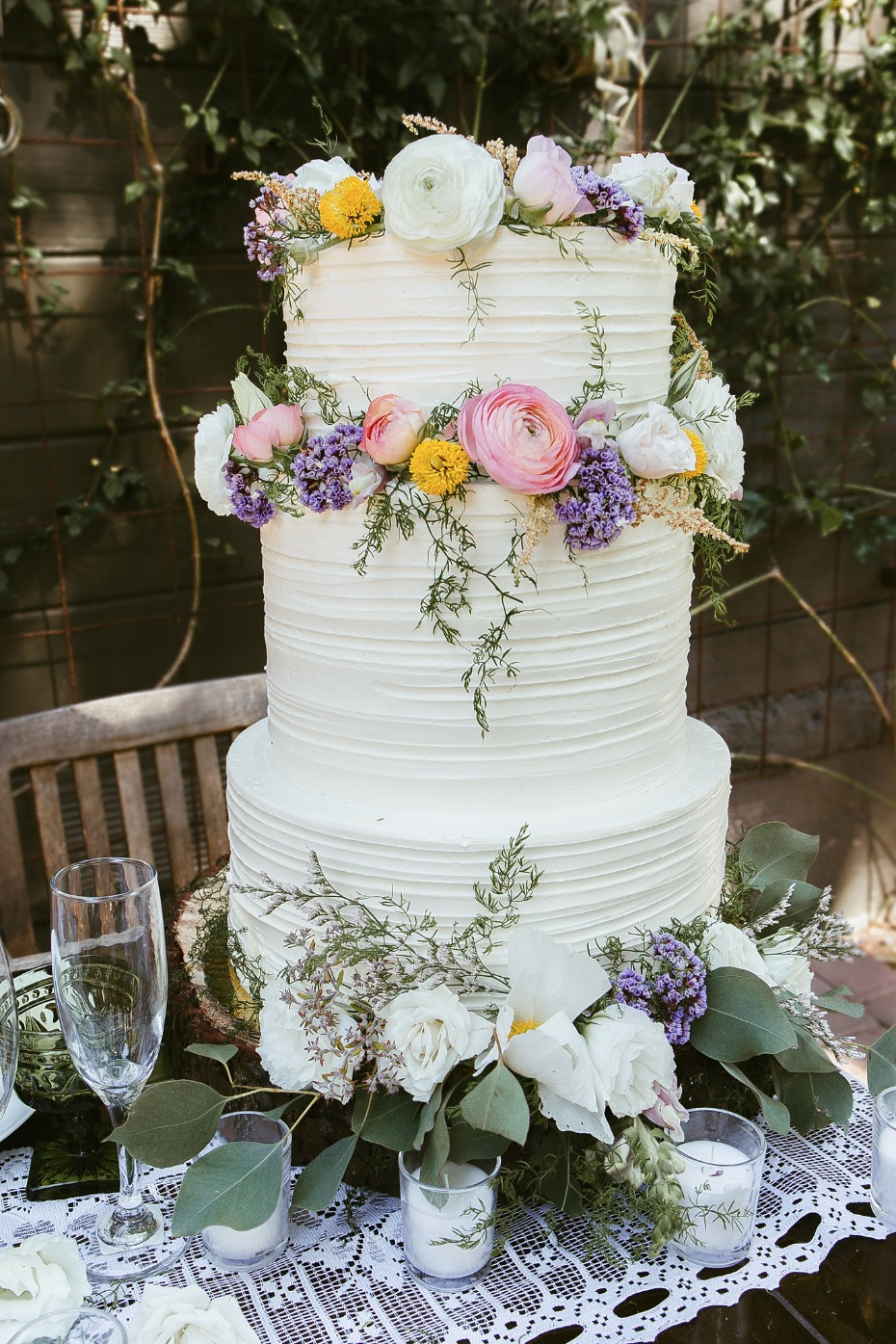 Three-tier cake with florals