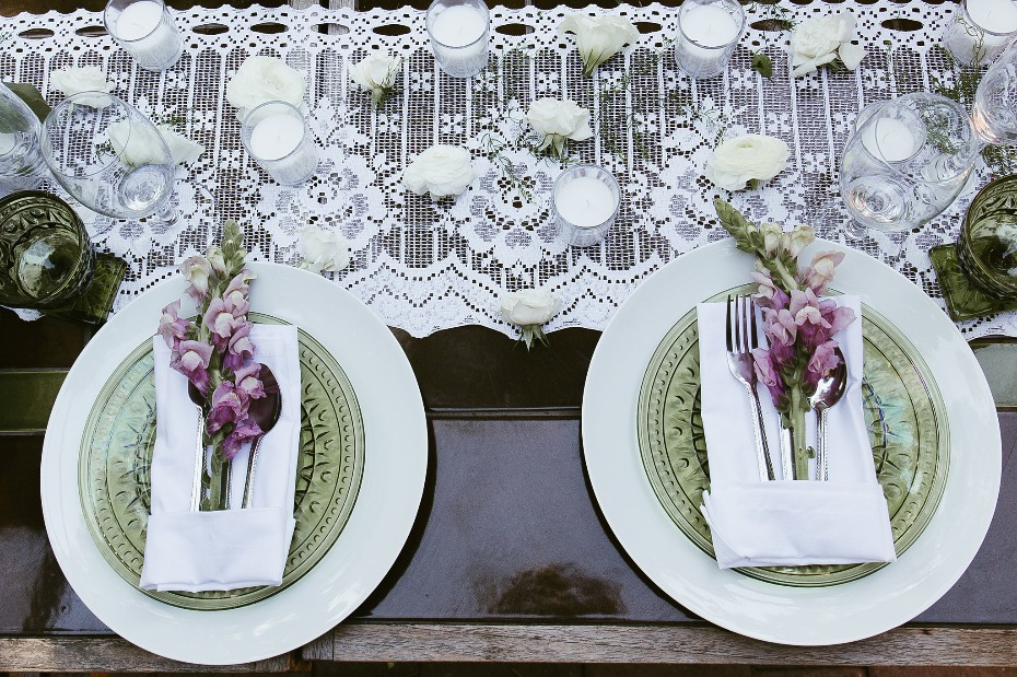 Purple and green place setting idea