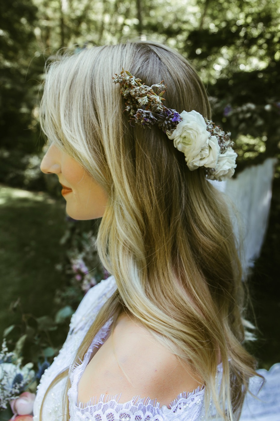 Floral hair piece for the bride