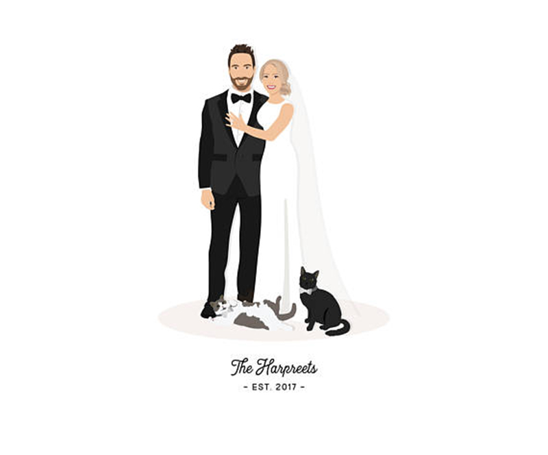 Miss Design Berry illustrated couple portrait features a personalized illustration of the couple as well as any pets you wish to include