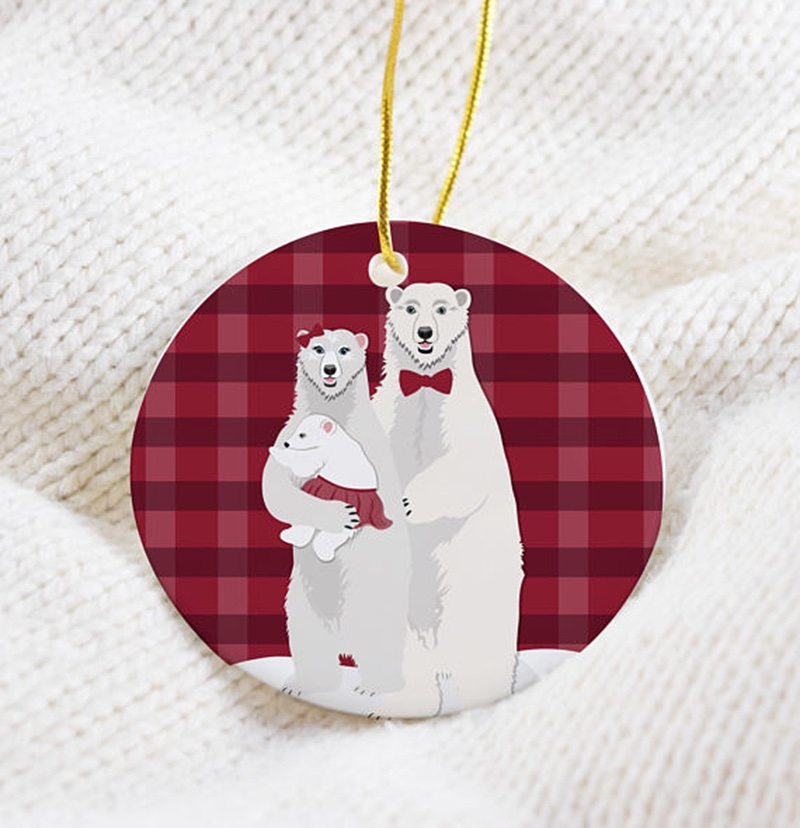 Miss Design Berry's fun Christmas ornament features a sweet panda family illustration on the front!