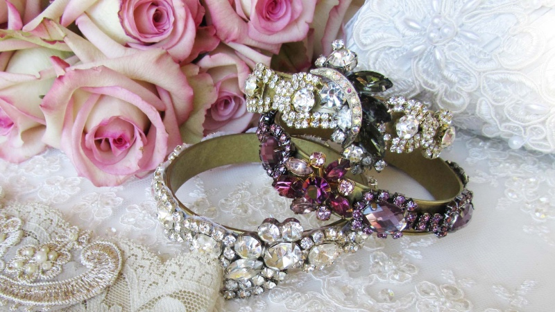 Gorgeous one of a kind bridal bracelets that have color and sparkle.
