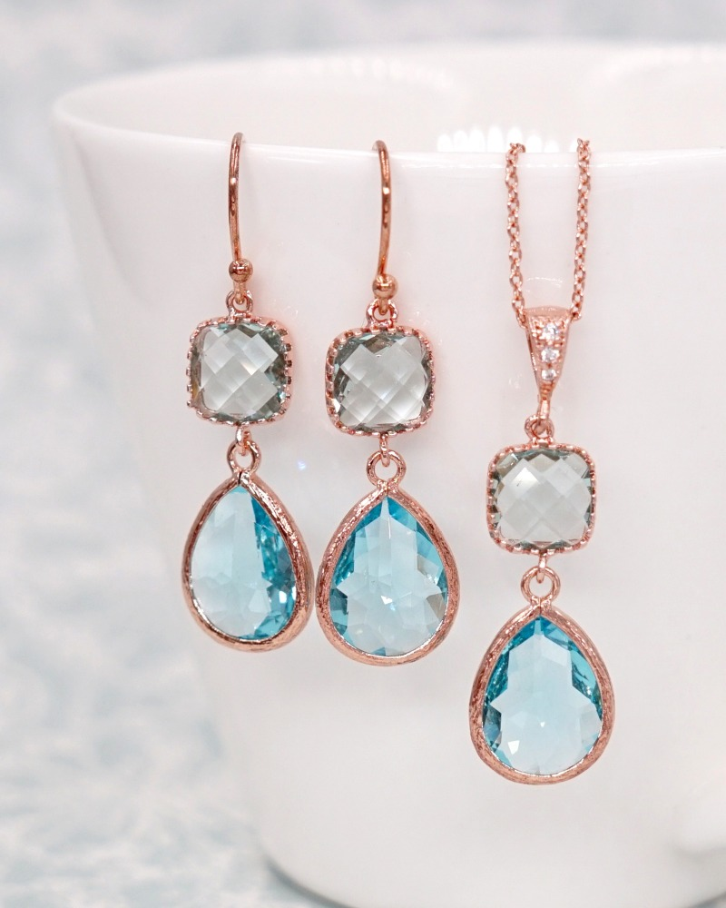 Something blue, Rose Gold Earrings, brides, bridesmaids, bridal shower gifts, everyday beautiful, wedding, party night, gifts for her