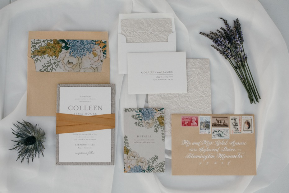 Yellow and blue invitation suite