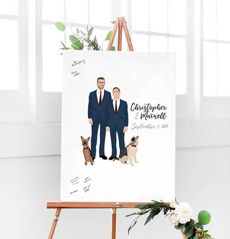 Miss Design Berry's two grooms wedding portrait guest book alternative captures the love and well wishes of your wedding guests in