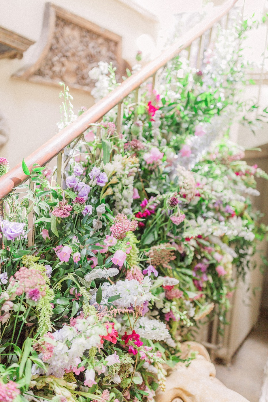 over grown wedding flower staircase